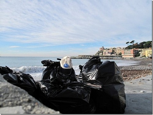 Genoa (ITALY): 'Anglers clean beach and river'  day. There are several of these days around Italy during the year. Not nationally organized